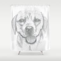 labrador Shower Curtains featuring Labrador by Malgorzata Zabawa