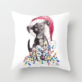 Helpful Puppy, Cute Christmas Throw Pillow