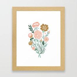 blossom linocut art print reproduction, floral art print, bouquet art print Framed Art Print
