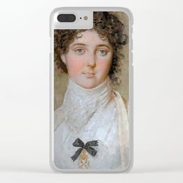 Emma with Maltese Cross (pointilist copy) Clear iPhone Case