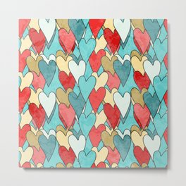 Grunge Pattern With Hearts Metal Print