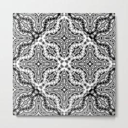 black and white Damascus ornament Metal Print
