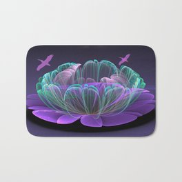 Water lily in a purple pond Bath Mat