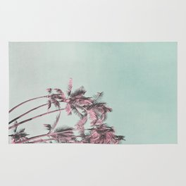 Tropical Palm Trees In Surreal Pink Rug