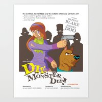 monster inc Art Prints featuring Mystery Inc. (Die Monster Die! Variant) by Winged Bomb