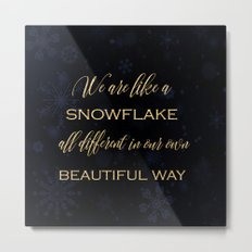 We are like a snowflake - gold glitter Typography on dark backround Metal Print