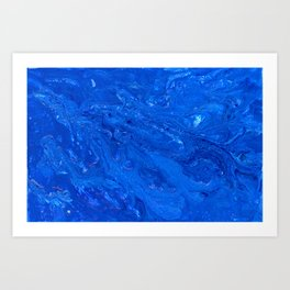Go Deep - Blue Abstract Acrylic Painting Art Print