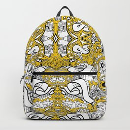 city banner, doodle monster ribbons mustard yellow Backpack