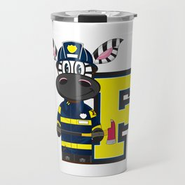 F is for Fireman Zebra Travel Mug