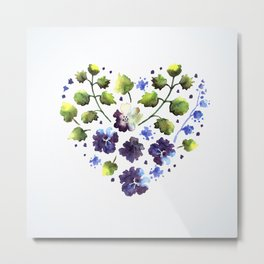 Watercolor decorative blue flowers heart Metal Print