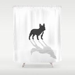 Wild At Heart - Black French Bulldog Shower Curtain