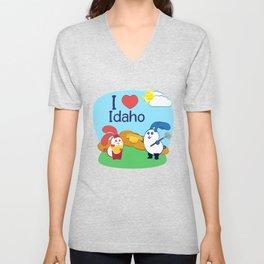 Ernest and Coraline   I love Idaho Unisex V-Neck