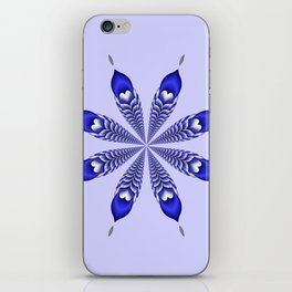 Silver and Blue Flower iPhone Skin