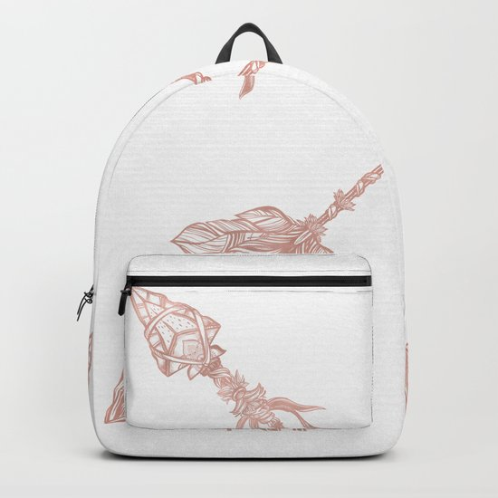 Tribal Arrows Rose Gold on White Backpack