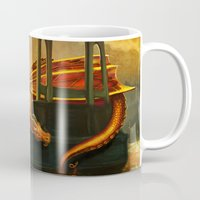marc johns Mugs featuring The Dragon of the St Johns Bridge by Studio Catawampus
