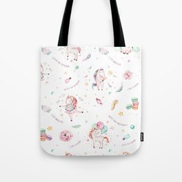 Elegant pink teal turquoise watercolor cute unicorn typography Tote Bag