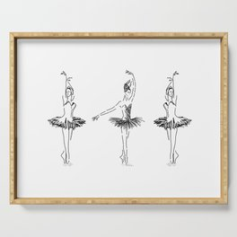 three ballerinas dancing . ( https://society6.com/vickonskey/collection ) Serving Tray