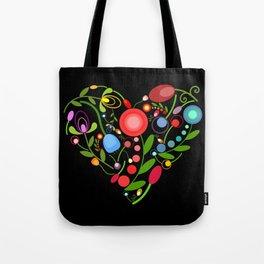 Floral heart on black Tote Bag