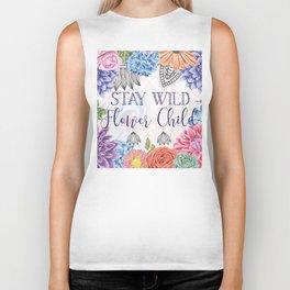 Stay Wild Flower Child - Boho Hippy Florals Biker Tank