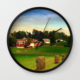 Hay bales and country village   landscape photography Wall Clock
