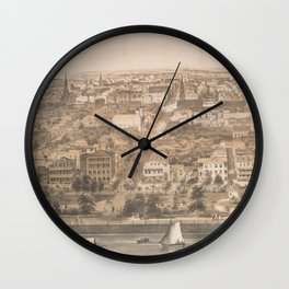 Vintage Pictorial Map of Charleston SC (1851) Wall Clock