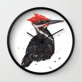Woodpecker painting, bird paintings, bird lover gift, pileated woodpecker Wall Clock