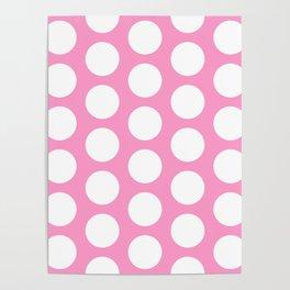 White circles on pink Poster