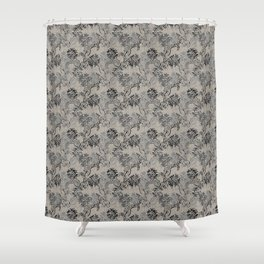 Taupe and Gray Floral Tapestry Repeat Pattern Shower Curtain