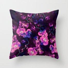 Dark Orchids Throw Pillow