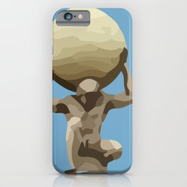 light blue Man with Big Ball Illustration iPhone Case