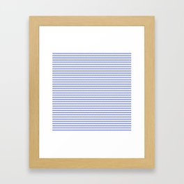 Small Horizontal Cobalt Blue and White French Mattress Ticking Stripes Framed Art Print