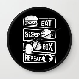 Eat Sleep Box Repeat - Boxing Boxer Uppercut Jab Wall Clock