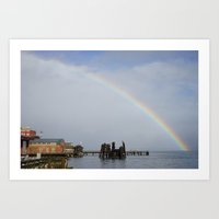 A Rainbow in Port Townsend Art Print