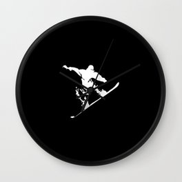 Snowboarding White Abstract Snow Boarder On Black Wall Clock