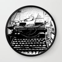 shakespeare Wall Clocks featuring Shakespeare and Company by Chris Hunt