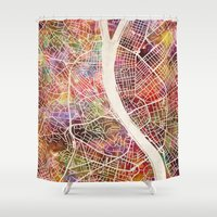 budapest Shower Curtains featuring Budapest  by MapMapMaps.Watercolors
