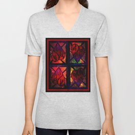 Mi Corazon (My Heart) - Symmetrical Art 3 Unisex V-Neck