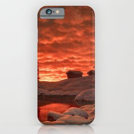 Classical Masterpiece 'Sunset in Winter' by Ivan Fedorovich Choultsé iPhone Case