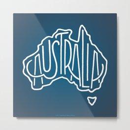 Hand Lettered Australia - blue gradient Metal Print