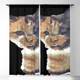 Cute Tricolor Cat With Tongue Out Blackout Curtain