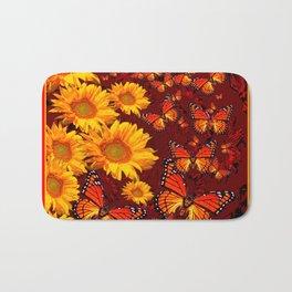 Golden Yellow Sun flowers & Orange Monarchs Brown Art Bath Mat