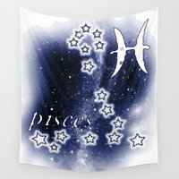 pisces Wall Tapestries featuring pisces by arTistn