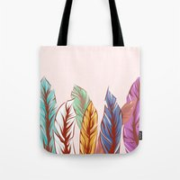 feathers Tote Bags featuring Feathers by melcsee