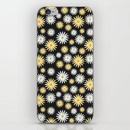 Watecolor Daisies Pattern | Black iPhone Skin