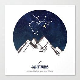 Astrology Sagittarius Zodiac Horoscope Constellation Star Sign Watercolor Poster Wall Art Canvas Print