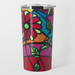 Colourful flowers artwork Travel Mug