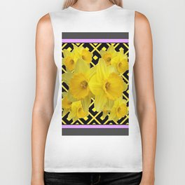 Charcoal Grey Lilac Yellow Daffodils art Biker Tank