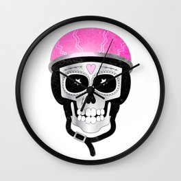 Day of the Dead Biker Skull Wall Clock