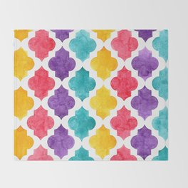 Colorful quatrefoil pattern in watercolor Throw Blanket
