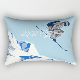 Airborn Skier Flying Down the Ski Slopes Rectangular Pillow